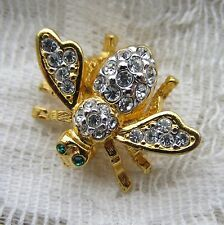 VINTAGE STYLE JOAN RIVERS CLEAR CRYSTALS BABY BEE BUG BROOCH PIN GOLD TONE