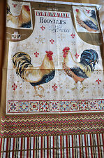 NEW BOHEMIAN ROOSTERS Apron Fabric Panel 29x43 Wilmington 100% Cotton