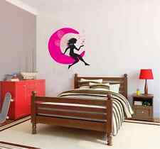Asmi Collections PVC Wall Stickers Beautiful Black Fairy on Moon and Stars