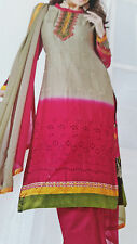 punjabi Cotton Salwar/Kamez ----Unstitch Suit Pink-- COLOR