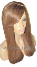 Remy Human Hair Wig Glueless Full Lace 20 Brown 6 Straight Fringe Bangs Small UK