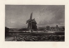 "Spectacular DAVID COX Antique 1800s Mezzotint Engraving ""The Old Windmill"" COA"