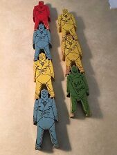 Bill Ding Vintage Wooden Toys Clowns set of 7 seven from 1930's