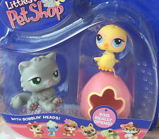 ~❤️~Littlest Pet Shop #81 82 CHICK BIRD pink egg + grey PERSIAN CAT NIP~❤️~