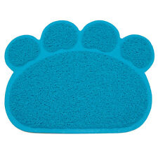 Blue Paw Print Dog Cat Litter Mat Puppy Kitty Dish Feed Bowl Tray Tidy Clean