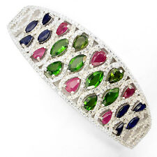 SPECIAL ITEM REAL RUBY,SAPPHIRE,DIOPSIDE,CZ STERLING 925 SILVER BANGLE 2.4 INCH