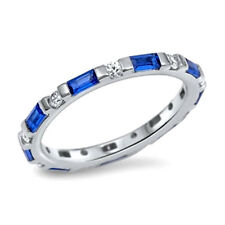 USA Seller Baguette Band Ring Sterling Silver 925 Jewelry Blue Sapphire Size 6
