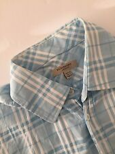 Burberry London Men's Blue Classic Nova Check Short Sleeve Shirt Small Pre-owned