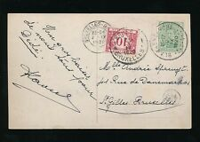 BELGIUM POSTAGE DUE on PPC for MORE THAN 5 WORDS 1920 CHARGED AS LETTER
