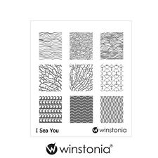 Winstonia Nail Art Stamping Image Plate I SEA YOU Ocean Waves Nautical Templates