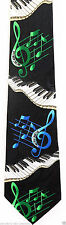 Floating Piano Keyboard Mens Necktie Musician Clef Note Music Black Neck Tie New
