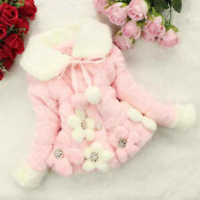 Baby Girls Toddler Woolen Outerwear Winter Warm Thick Jacket Tops Coat Snowsuit