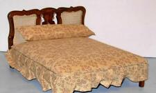 VINTAGE BED WITH BEDDING CANED HEADBOARD MINIATURE DOLL HOUSE FURNITURE