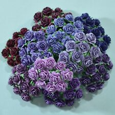 100 MIXED MULBERRY PAPER ARTIFICIAL ROSE HEAD FLOWER PURPLE TONE 15 mm./ 0.6""