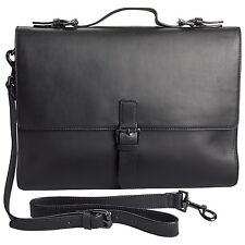 $620 John Varvatos Men Slim Brief Laptop BRIEFCASE ATTACHE WORK TRAVEL Bag BLACK