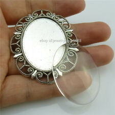 2SET Base Tray 40x30mm Setting Holder Pendant & 40x30mm Cameo Vintage Silver
