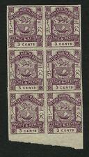 NORTH BORNEO 1888 THREE CENTS IMPERF BLOCK of 6...SG39b...Fournier