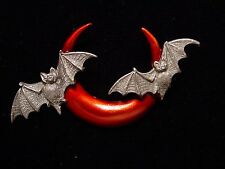 """JJ"" Jonette Jewelry Silver Pewter 'Half MOON w-Bats Pin ~ Halloween"