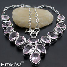 75% OFF Genuine 925 Sterling Silver Natural Pink Kunzite Topaz PROM Necklace 20""