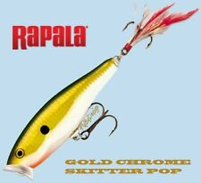 NEW Rapala GOLD CHROME Skitter Pop Balsa Surface Popper (SP07 GCH) Fishing Lure