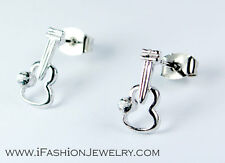 Silver Guitar Violin Stud Earrings Unisex Men Fashion Jewelry Gift Music Lovers