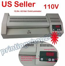 New Commercial A3 12.6In Width Pouch Laminator Hot Cold Document Maintence 110V