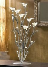 "Silver Calla Lilies Tealight Candelabra Centerpiece Candle Holder 32"" Tall NEW"