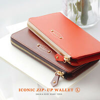 Women's Smart Purse/Paper Money/Coin/Card Pocket_Iconic Zip Up Long Wallet L