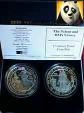 2003 & 2004 Jersey Nelson and HMS Victory Silver Proof £5 Five Pound Collection