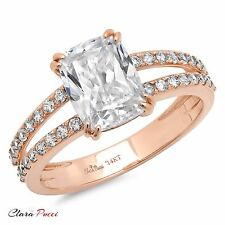 3.50CT Wedding Engagement ring Cushion cut solid 14K Rose Gold Bridal Jewelry