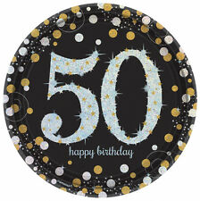 8 Gold Celebration Age 50 Paper Plates Silver Gold Black 50th Birthday tableware
