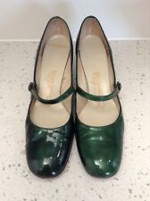 Vtg Emerald Green Patent Leather Socialites Shoes 8 AAA Rockabilly Mary Janes