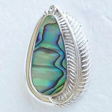 SAJEN  VINTAGE 925 SS OVAL PAUA/ ABALONE SHELL PENDANT / BROOCH DETAILED FEATHER