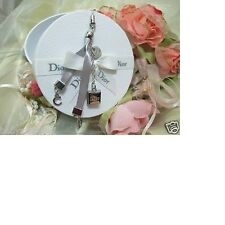Christian DIOR C & D Necklace Bracelet Cell Phone Charm Pendant Bow Tie Gift Box