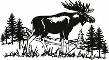 "MOOSE SCENE WILDLIFE DECAL 14"" x 7""  LARGE WHITE"