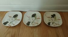Set of 3 Vintage Red Wing Bronze Lotus Blossom Flower Square Small Saucer Plates