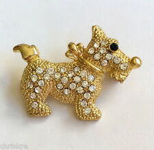 Gold Dog Pin Brooch Scottish Terrier Puppy Clear Austrian Crystals USA Seller