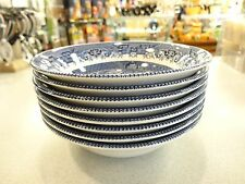 "SET OF 4 Blue Willow CHURCHILL ENGLAND 6""COUPE CEREAL  BOWLS Plate UNUSED"