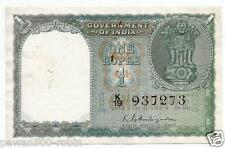 INDIA RE 1 NOTE XF AMBEGAONKAR 1ST ISSUE 1950 GREY GREEN FLOWER ON BACK