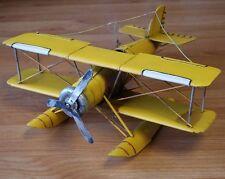 Large Metal Aeroplane / Airplane Mustard Yellow Bi-Plane / Sea Plane Collectable