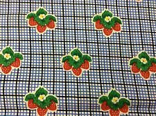 STRAWBERRIES ON SMALL BLUE & BLACK PLAID FABRIC    BY THE YARD