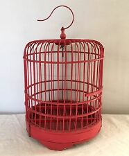 "Vintage Bamboo Birdcage 14"" Chinese Wood Hanging Shabby Red Chic"