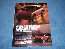 "1989 Dodge Dakota Convertible Vintage Ad ""Open Air Seating Now Available"""