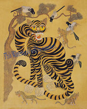 "Korean Art, Minhwa(민화)-Tiger and magpie, 8""x10"" Printed on silk Matted fa1"