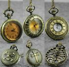 Retro Bronze Quartz Necklace Steampunk Pendant FOB Pocket Watch  Men Lady Gift