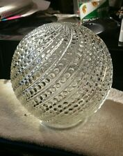 Vintage Clear Swirled Beaded Glass Ball Globe Ceiling Light Shade