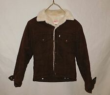 Vtg 70s LEVI'S Corduroy Sherpa Lined Trucker Jacket Size Mens 34 White Tab Brown