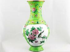 VINTAGE CHINESE GREEN & WHITE ENAMEL VASE, HAND MADE W/ HAND PAINTED