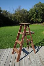 Antique Vintage Red Wood Ladder Step Ladder Step Stool 4 Foot Ladder Display