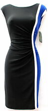 Ralph Lauren black blue stretchy fabric office wear to work knee lenght dress